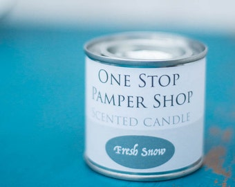 Fresh Snow, scented candle, paint tin, home decor, gift ideas, travel candle, artisan candles, wedding favours