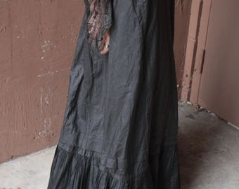 Antique Victorian Edwardian Petticoat Skirt // 1900s Black Silk Skirt // Mourning Wear // Bustle Back and Pleated Hem