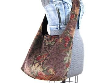 Over Shoulder Bag - Large Crossbody Bag - Gift for Vegan - Crossbody Hobo Bag - Floral Bag - Extra Large Tote Bag - Hobo Handbag - Boho Bag