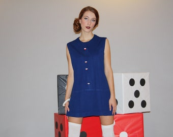 1960s Navy Graphic Novelty Buttons Mod Mini Scooter Dress   - Short 60s Dress - W00049