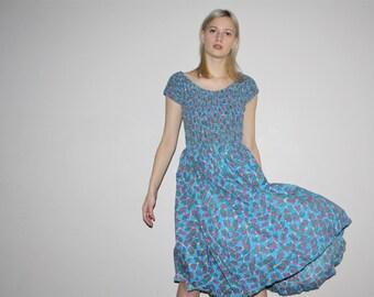 Vintage 1950s Graphic Novelty Atomic Blue Pinup Bombshell Cotton Dress  - Vintage 50s Cotton  Dress - Vintage 50s  Dresses  - W00346