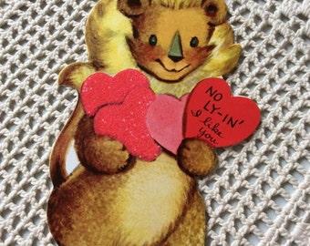 Vintage 1950s Valentine Card Lion King Wearing A Crown Collectible Paper Ephemera Art Craft Scrapbooking