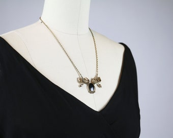 Vintage 1940s Necklace / Carl Art Necklace Gold Filled Necklace / Art Deco Necklace / 1940s Jewelry 1930s Jewelry 1930s Necklace Onyx