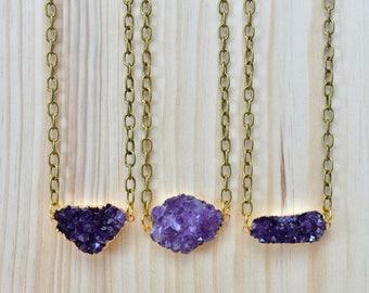 Amethyst Druzy Gemstone Gold Brass Statement Necklace/ Gem Mineral Crystal Amethyst Gold Purple (EP-NCS12-AM)