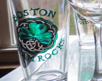 Shamrock Beer Glass Hand Painted Boston Shamrocks
