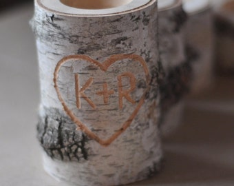 Wedding Day Candle • personalized  birch candle holder •  Wood Carved Heart & Initials •  Birch Heart Candle