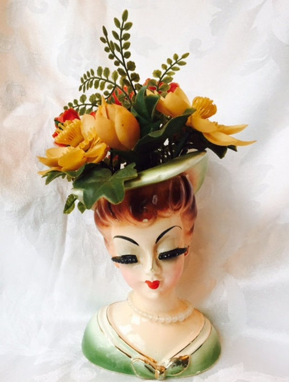 Vintage Ceramic Lady Head Vase Planter Bust with Original Necklace and Plastic Flowers Thick False Eyelashes Green Dress and Hat