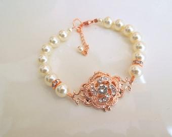 rose gold bracelet, Pearl bridal Bracelet, swarovski crystal bracelet, Pearl Rhinestone Bracelet, wedding Rhinestone Bracelet, ROSELANI