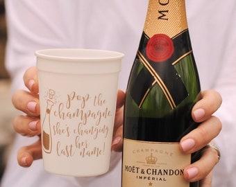 Engagement Party Favors - Champagne Cups, Bachelorette, Bridal Shower Favors, Wedding Shower, Couples Shower - 12 oz. Plastic Reusable Cups