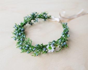 winter berry hair wreath (1) - wedding headpiece, headband, vintage inspired twiggy branch flower crown, festival, bridal, flower girl