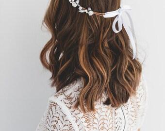 silver white rose, leaf & berry flower crown // silver leaf crown / silver flower crown / silver white / bridal wedding flower headband
