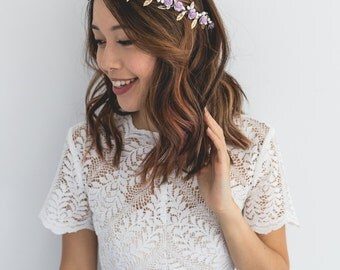 lilac gold rose, leaf & berry flower crown // lilac gold leaf crown / lilac gold flower crown / lilac gold / christmas gold flower crown