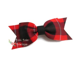 Buffalo Plaid Bow/Buffalo Check Baby Barrette/1st Birthday Gift for Baby Girl/Red and Black Buffalo Plaid Baby Hair Bow/Basic Hair Bows