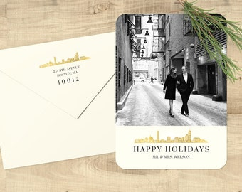 "City Skyline Photo Happy Holidays flat cards; ""Merried"" set of 25 with matching envelopes and return address printing"