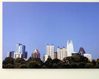 Piedmont Park Pastel Atlanta Skyline Metal Photograph with Floating Frame