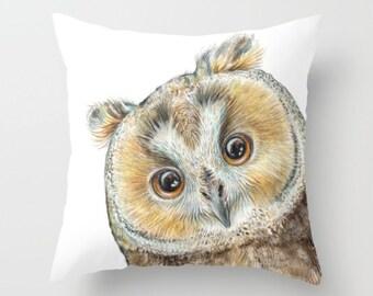 """Pillow ....""""""""  OWL """""""" Print Art Pillow - woodland fine art -living room - childrens room - nursery - babies -"""