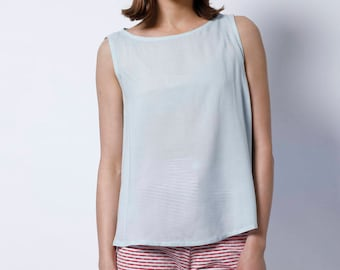 Blue top, Womens top, Sleeveless top, day top, Summer top, Summer womens blouse, Elegant top, elegant blouse, light blue, baby blue, loose