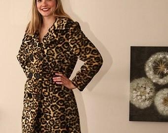vintage 60s 70s vegan leopard faux fur pea coat