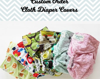 Custom one size cotton and PUL cloth diaper cover custom fabric choices