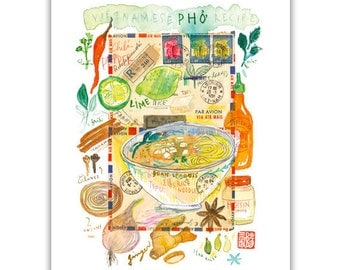 Vegan pho print, Watercolor painting, Vegan print, Vegetarian poster, Kitchen art, Healthy food print, Vegan food print, Vietnamese wall art