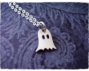 Tiny Ghost Necklace - Sterling Silver Ghost Charm on a Delicate Sterling Silver Cable Chain or Charm Only
