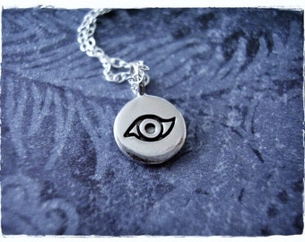 Tiny Evil Eye Necklace - Sterling Silver Evil Eye Charm on a Delicate Sterling Silver Cable Chain or Charm Only
