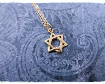 Tiny Gold Star of David Necklace - Tiny Matte 24kt Gold Plate Star of David Charm on a Delicate 14kt Gold Filled Cable Chain or Charm Only