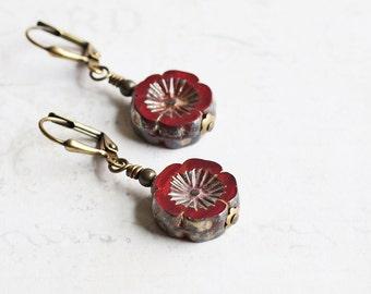 Dark Red Flower Dangle Earrings on Antiqued Brass Hooks, Czech Glass (Leverback or Fishhook)