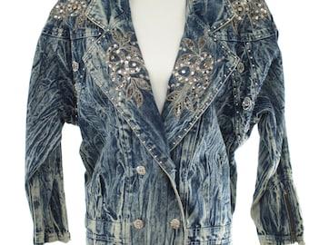 Vintage 1980s 1990s Acid Wash Denim ULTRA Jacket Embellished with Shoulder Pads Size Small