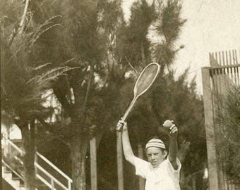 Ready to SERVE In TENNIS As Young Boy Holds Raquet In Air for Service Photo Postcard circa 1910