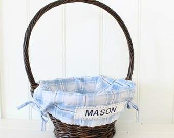 Small Easter Basket Liner -- Blue and Navy Plaid -- Free Monogram --