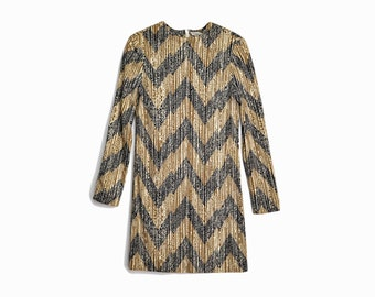 Vintage 70s Mod Mini Dress in Zig Zag / Long Sleeve Dress / 70s Go Go Sheath Dress  - women's xs/small