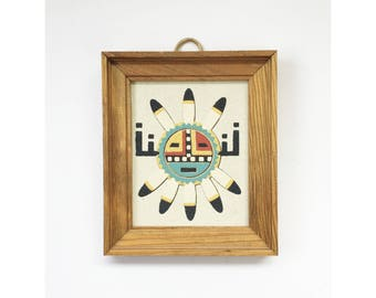 Vintage Navajo Sand Art Painting / Sun and Eagle Shield