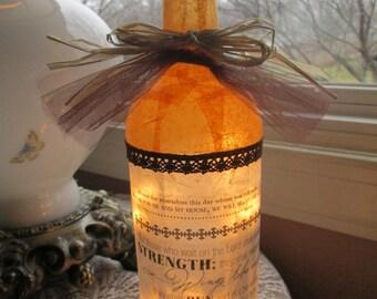Wine Bottle Lamp, Christian, Religious, Scriptures, lighted bottles, lighted wine bottles, wine bottle lights, wine bottle light, lamps