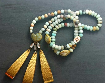 Long Beaded Statement Necklace with Brass Charms
