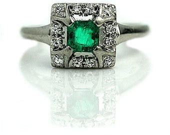 Emerald Ring .64ctw Platinum Emerald Ring Vintage Ring Unique Art Deco Engagement Ring Diamond Emerald May Birthstone