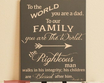 Dad Gift - Fathers Day Gift - Scripture - Christian Gift - The Righteous Man - Wood Engraved Sign