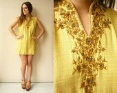 90's Vintage Indian Embroidered Yellow Tunic Top Size Large