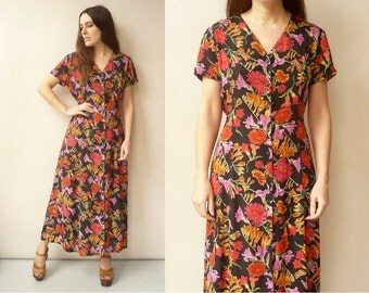 Vintage 90's Revival Button Down Grunge Floral Maxi Dress Size Small