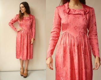 1940's Vintage Peachy Pink Rayon Midi Tea Dress Size XS