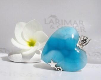 Larimar heart pendant by Larimarandsilver, Heart to Dive In - cobalt blue Larimar heart, neon blue, silver starfish handmade Larimar pendant