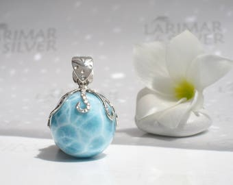 AAA Octopus Larimar pendant by Larimaransilver, Octopus World 2 - azure BIG Larimar sphere, aquamarine pearl, turtleback, silver octopus