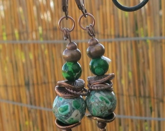 Mosaic Turquoise arrings - with Copper beads