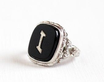 Sale - Vintage Silver Tone Art Deco Letter I Filigree Ring - 1930s Uncas Antique Size 3 1/2 Monogrammed Signet Initial Black Lucite Jewelry