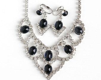Sale - Vintage Simulated Sapphire Cabochon Festoon Necklace & Clip On Earring Set - 1950s Silver Tone Rhinestone Demi Parure Bridal Jewelry