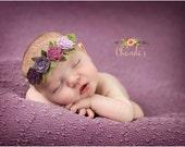 READY TO SHIP, Purple Felt Flower Headband, Nylon Headband, Newborn, Photo Prop, Smash Cake, Floral Crown, Felt Flower Crown Headband, Halo