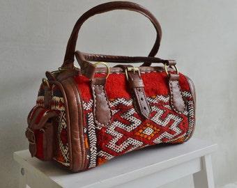 Winter Finds Moroccan Red Kilim Leather Satchel Cross Shoulder Straps Berber style-bag, tote, handbag, purse, gifts, handbag