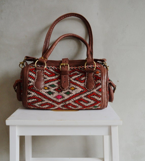 Trendy Winter Finds Moroccan Red Kilim Leather Satchel Cross Shoulder Straps Berber style-bag, tote, handbag, purse, gifts