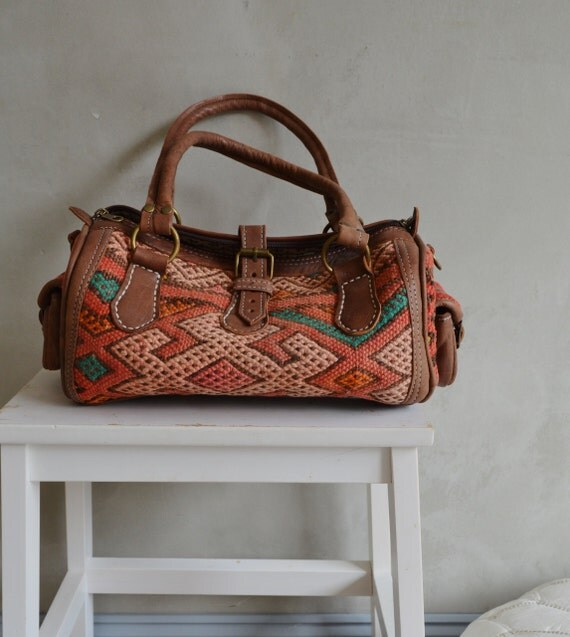 Trendy Winter Finds Moroccan Orange Kilim Leather Satchel Cross Shoulder Straps Berber style-bag, tote, handbag, purse, gifts