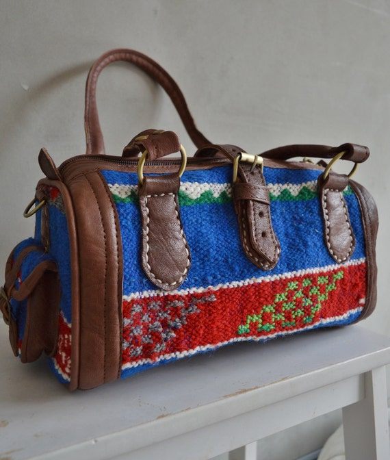 Christmas Winter Finds Moroccan Blue Kilim Leather Satchel Cross Shoulder Straps Berber style-bag, tote, handbag, purse, gifts, handbag